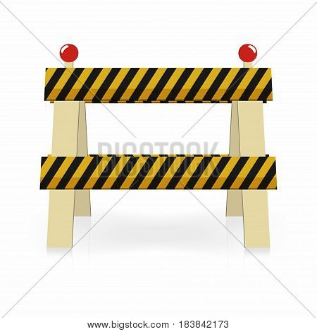 Fence light construction icon. Under construction street traffic barrier. Black and yellow stripes with lights. Vector illustration