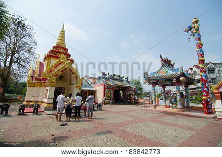 Loei city pillar shrine and Chinese shrine temple in Loei province Thailand