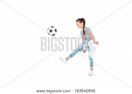 Little girl with football ball isolated on white children sport concept