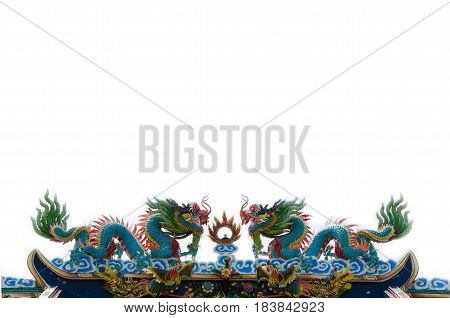 Beautiful Dragon statue on top roof in public Chinese temple of Thailand
