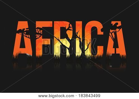 African landscape with trees and sun. Lettering Africa with savanna prairies sunset inside. Vector