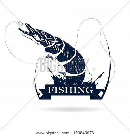Fishing logo. Monochrome illustration of pike with fishing rod and bait. Vector
