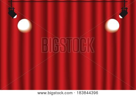 Red Curtain Background With Spotlights. Luxury Red, Dark Color. Vector