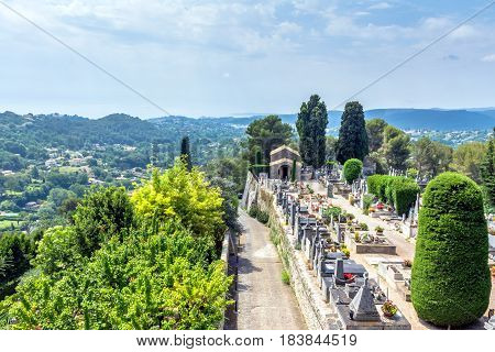 panoramic view and cemetery in Saint Paul de Vence Provence France
