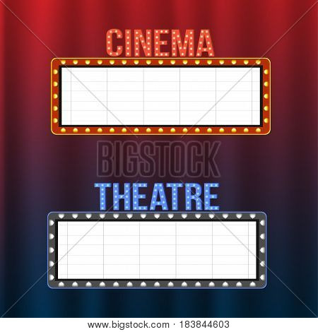 Cinema And Theatre Signboards On Blue And Red Curtains With Spotlights And Vintage Frames. Space For