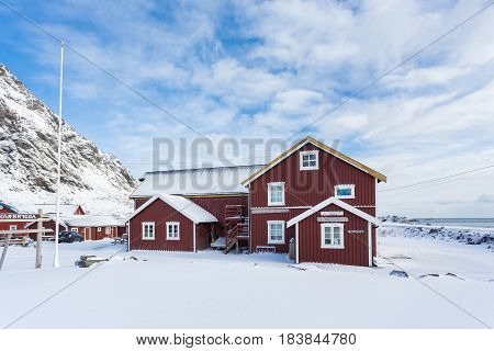A Norway - March 18 2017: The Feskarbrygga Rorbuer hotel in the fishing village A of Lofotens in winter