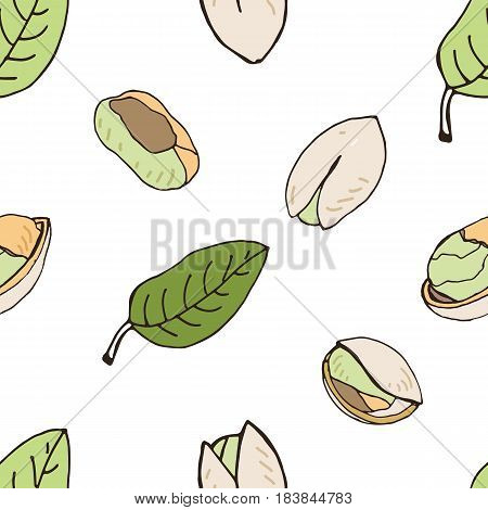 Nut seamless on white background. Hand drawn colorful pattern with pistachio