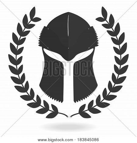Spartan helmet silhouette with laurel wreath. Front view. Knight gladiator viking warrior helmet icon. Vector