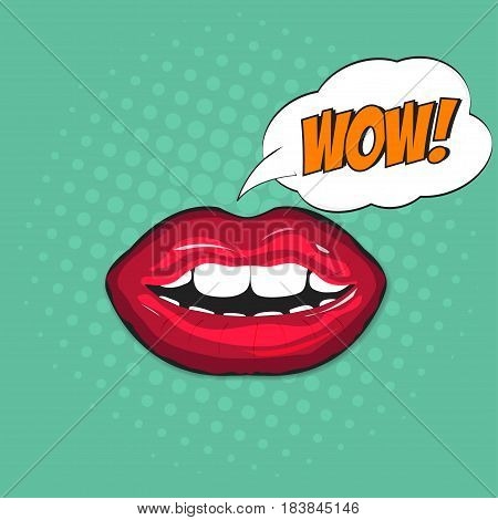 Female lips in pop art style with bubble. Lettering Wow inside bubble. Retro comic illustration with halftone background. Vector