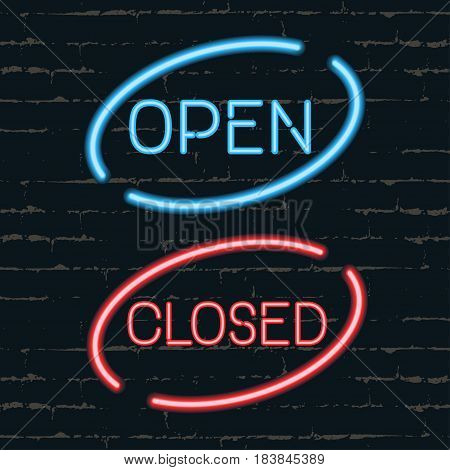 Open closed signborads. Neon effect in blue and red colors on dark background. Vector