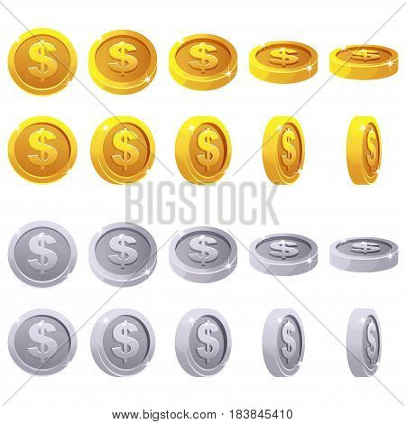 Cartoon set of 3D metallic coins vector animation game rotation. Gold and silver dollar simbol