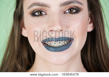 Woman With Grey Lips In Dress Has Fashion Makeup