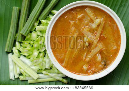 Sour soup with fish and moringa, Thai food