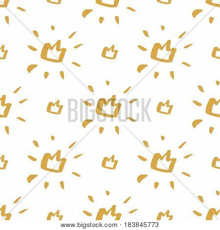 Seamless pattern with a golden crown on a white background.