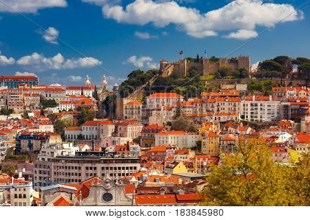 Aerial view of Castle of Saint George or Sao Jorge and the historical centre of Lisbon on the sunny afternoon, Lisbon, Portugal