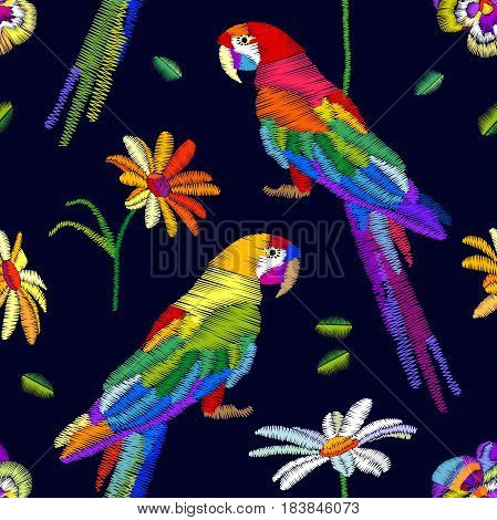 Stylized embroidered texture and vintage art motifs.