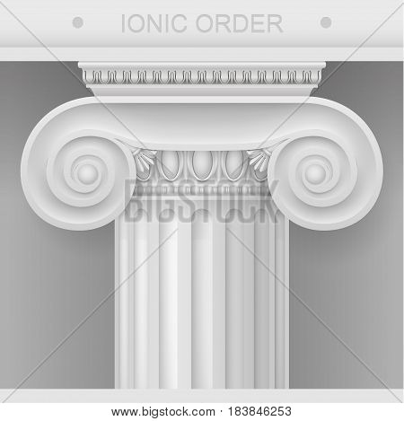 White Capital of the Ionic column. Classical architectural support. Vector graphics