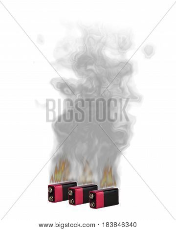 Burn and smoke the Li-ion batteries , white background, isolated