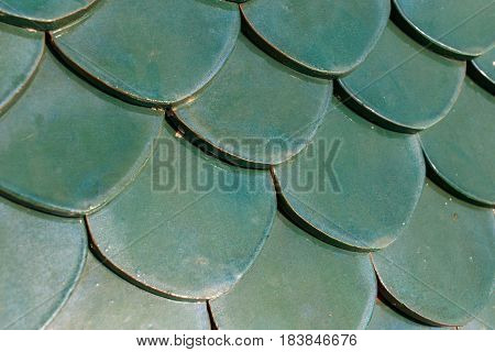Texture of green semi-circular tile for roof