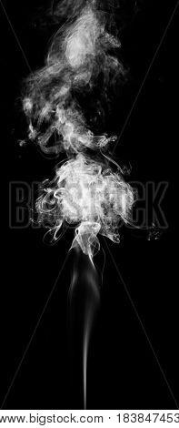 White fantasy smoke on black background close up