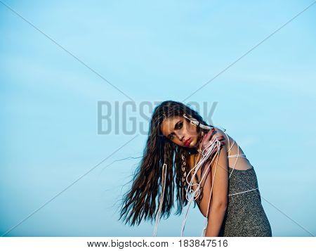 Beautiful Girl Portrait Of Tribal Indian Woman With Ethnic Makeup