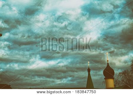 Cloudy morning in the spring over church, Moscow