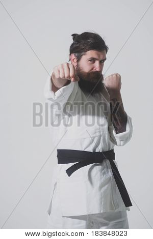 Bearded Karate Man, Brutal Caucasian Serious Hipster In Kimono