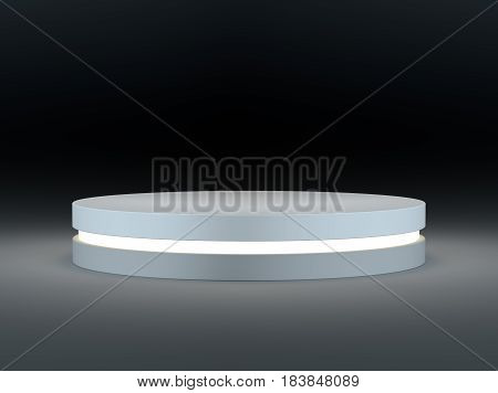 White round podium on a dark background. An empty place for your context. Template of advertising design. 3d illustration