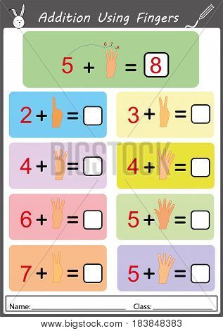 addition the object and write the correct answer, math worksheet for kids