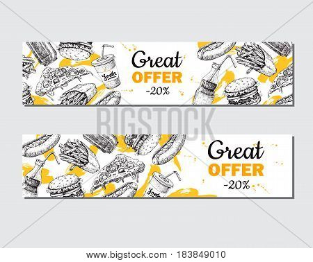 Fast food vector hand drawn banner.  Hand drawn junk food special offer illustration. Soda, hot dog, pizza, burger and french fries drawing. Great for label, menu, poster, voucher, coupon