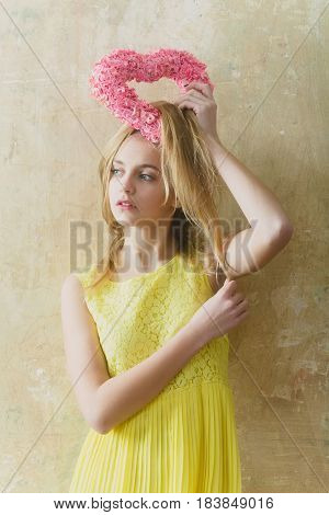 Pretty Girl With Pink Wicker Heart For Valentines Day