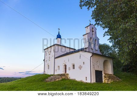 View on old orthodox church building, Russia, Izborsk
