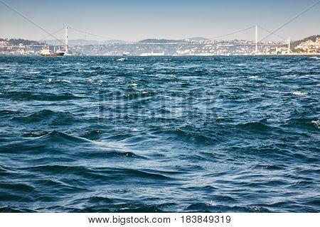The view of the Bosphorus with the Bosphorus bridge. Istanbul Turkey.