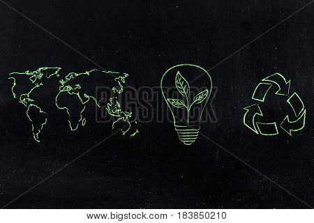 World Map And Recycle Logo Next To Lightbulb With Leaves Growing Inside Of It