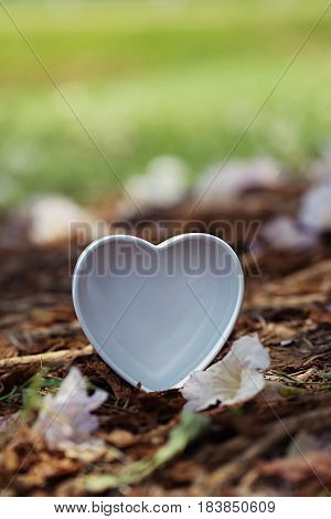 White heart on ground and falling flowers blur background