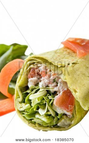 chicken wrap with vegetables isolated on white