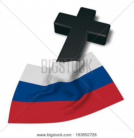 christian cross and flag of russia - 3d rendering