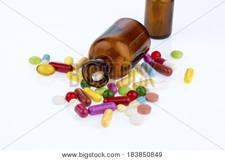 many tablets with container