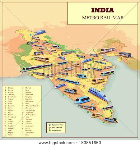 easy to edit vector illustration of Metro Rail Operational and Future plan Map Of India