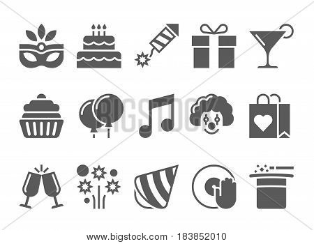 Celebration Icons and Party Icons with White Background