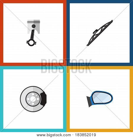 Flat Parts Set Of Auto Component, Metal, Conrod And Other Vector Objects. Also Includes Conrod, Windshield, Wiper Elements.