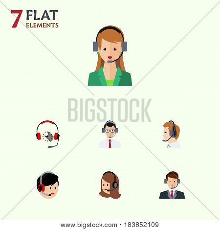 Flat Telemarketing Set Of Headphone, Operator, Help And Other Vector Objects. Also Includes Earphone, Secretary, Operator Elements.