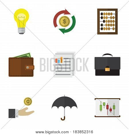 Flat Gain Set Of Parasol, Interchange, Counter And Other Vector Objects. Also Includes Calculator, Pocketbook, Exchange Elements.