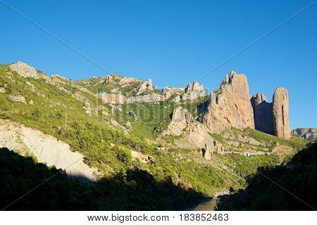 Riglos Mountains, known as Mallos de Riglos, Riglos, Huesca Province, Aragon, Spain.