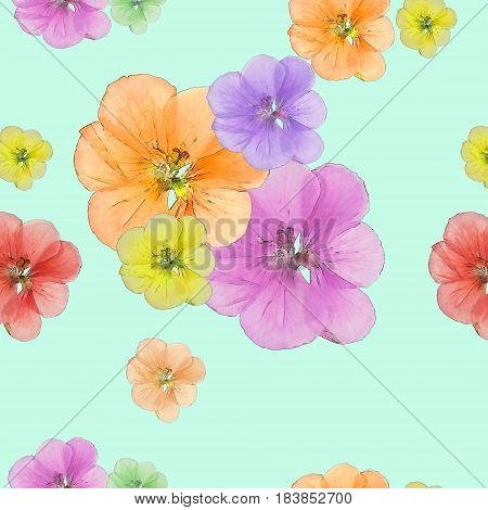 Geranium cranesbill pelargonium. Texture of flowers. Seamless pattern for continuous replicate. Floral background photo collage for production of textile cotton fabric. For use in wallpaper covers.