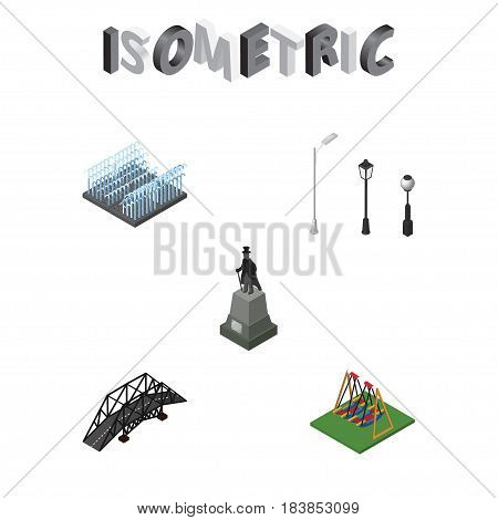 Isometric Architecture Set Of Seesaw, Fountain, Sculpture And Other Vector Objects. Also Includes Fountain, Sculpture, Suspension Elements.