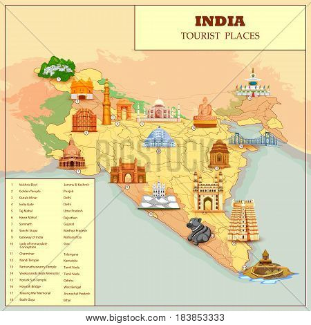 easy to edit vector illustration of Famous Tourist attraction Place Map Of India