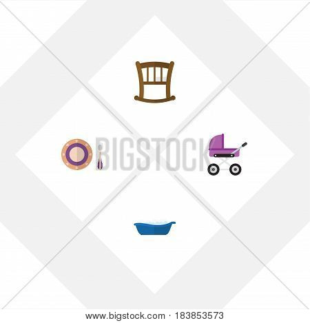 Flat Infant Set Of Baby Plate, Bathtub, Infant Cot And Other Vector Objects. Also Includes Bathtub, Plate, Pram Elements.