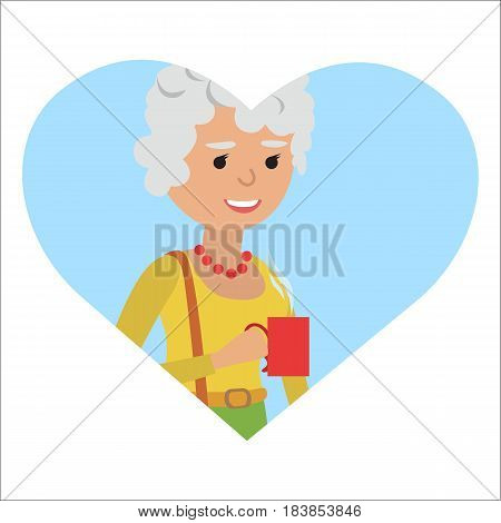 Senior woman with cup in her hand drinking hot coffee. Vector illustration icon isolated on white background.