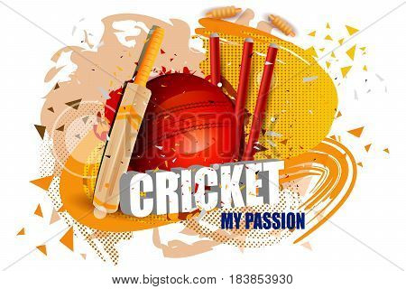 easy to edit vector illustration of Cricket background with bat, ball and stump wicket